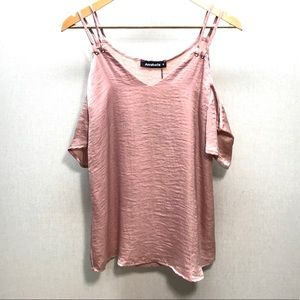 NWT Annabelle Dusty Rose Sateen Cold Shoulder Top
